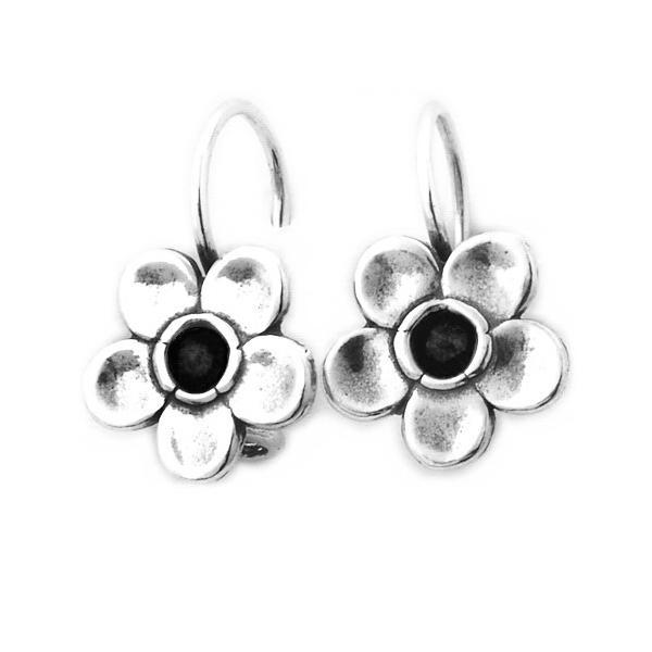 Cercei argint 925 Israel floare cu onix - Be Nature EPO0018 0