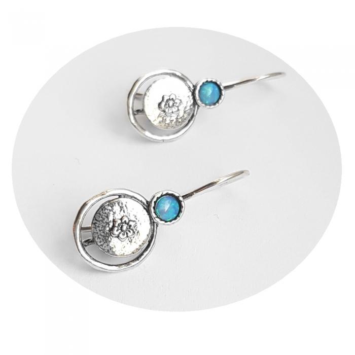 Cercei argint 925 Israel floare cu opal imperial - Be Nature EPO0033 [0]