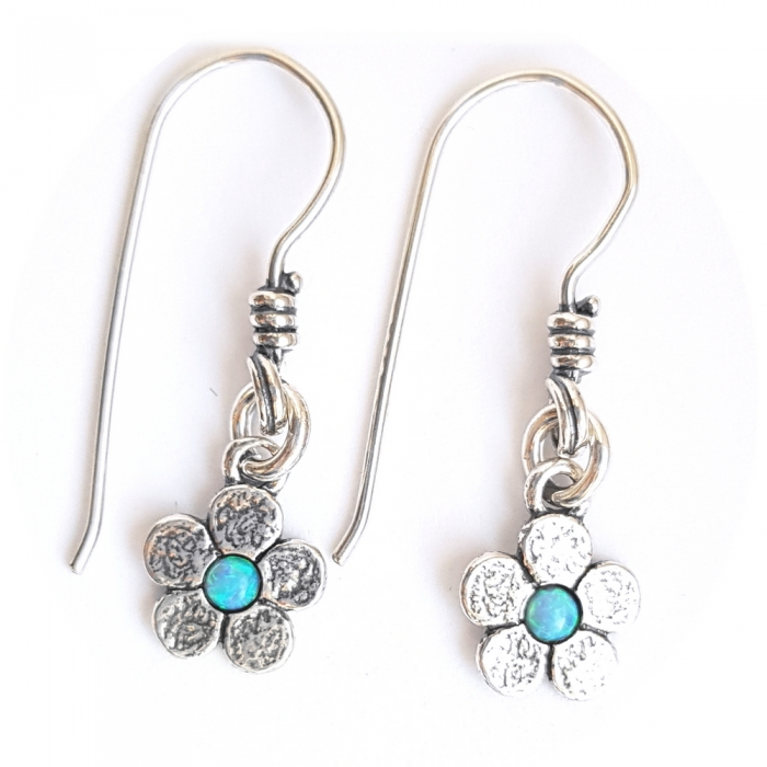 Cercei argint 925 Israel floare cu opal imperial - Be Nature EPO0035 0