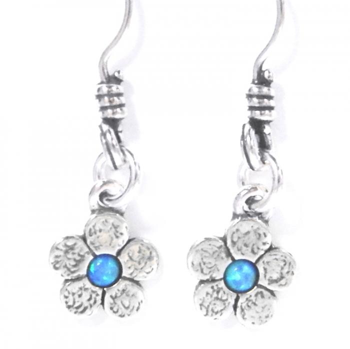 Cercei argint 925 Israel floare cu opal imperial - Be Nature EPO0035 1