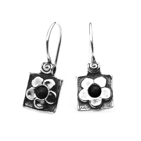 Cercei argint 925 Israel floricele cu onix - Be Nature EPO0010 0
