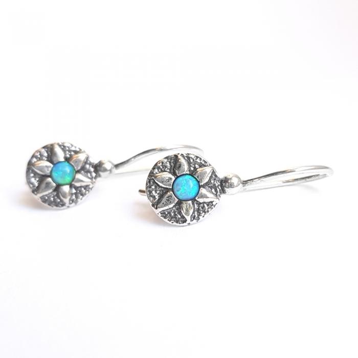 Cercei argint 925 Israel floricele cu opal imperial - Be Nature EPO0038 1