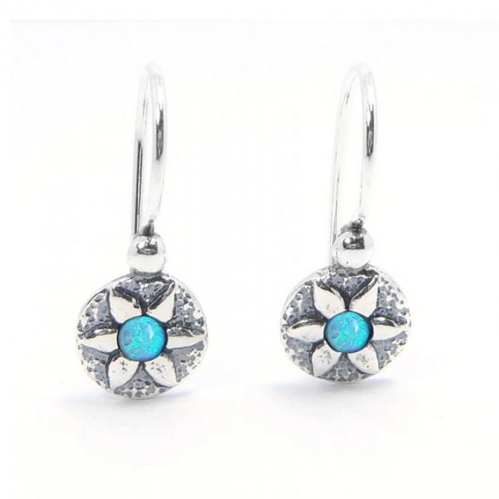Cercei argint 925 Israel floricele cu opal imperial - Be Nature EPO0038 0
