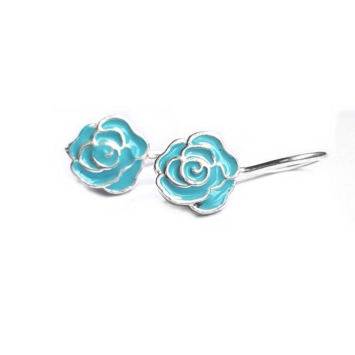 Cercei argint 925 cu floricle bleu 0