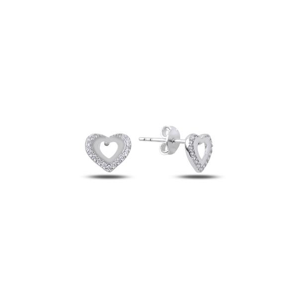 Cercei argint 925 rodiat cu inimioare si zirconii albe - Be in Love ETU0068 0
