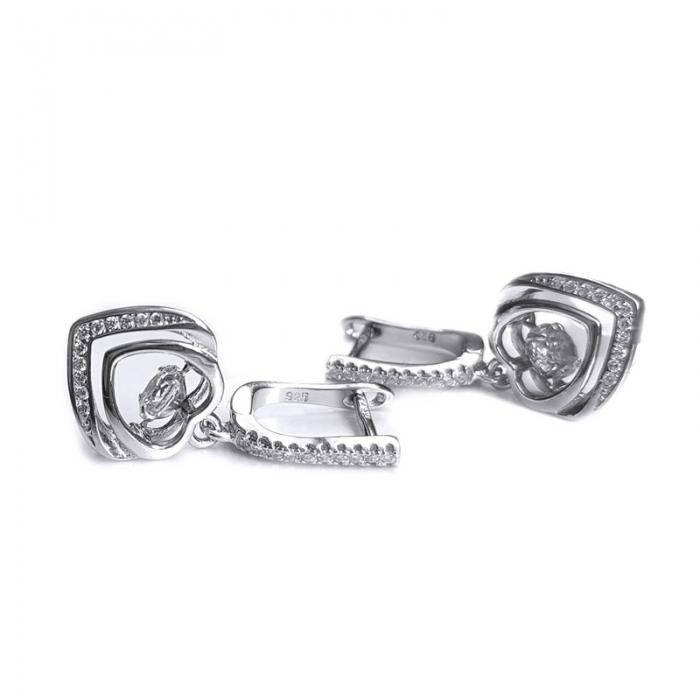 Cercei argint 925 rodiat inimioare cu zirconii CER0750 - Be in Love 1