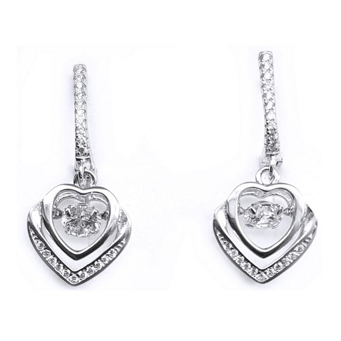Cercei argint 925 rodiat inimioare cu zirconii CER0750 - Be in Love 0