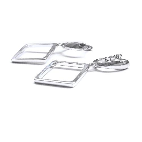 Cercei argint 925 rodiat cu romburi 0