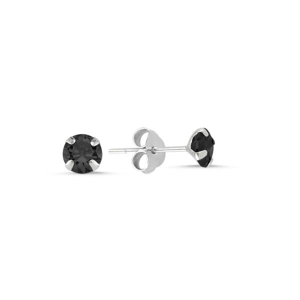 Cercei argint Solitaire cu zirconii negre 5 mm [0]