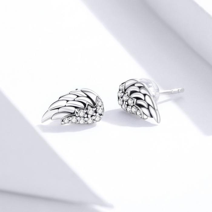 Cercei argint Aripi de Inger cu zirconii 3