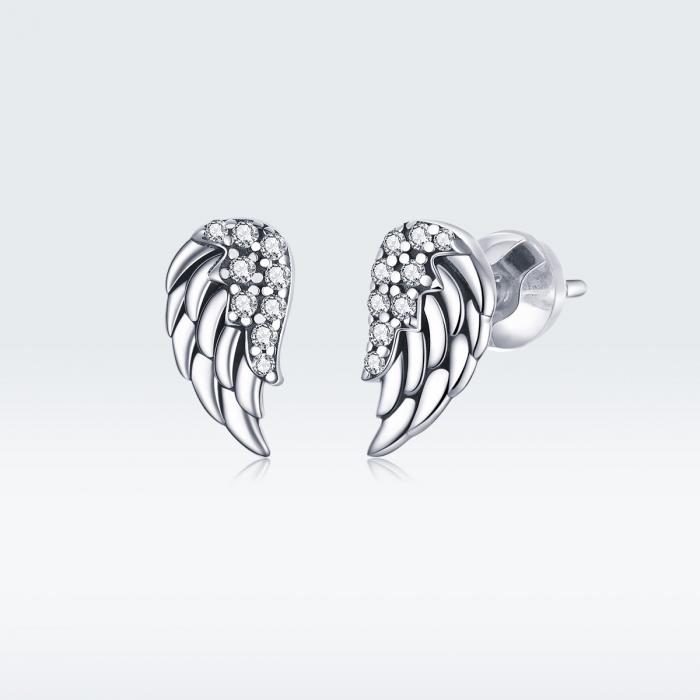 Cercei argint Aripi de Inger cu zirconii 2
