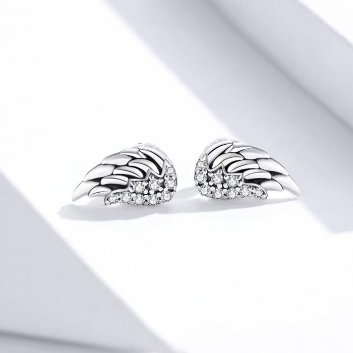 Cercei argint Aripi de Inger cu zirconii 1