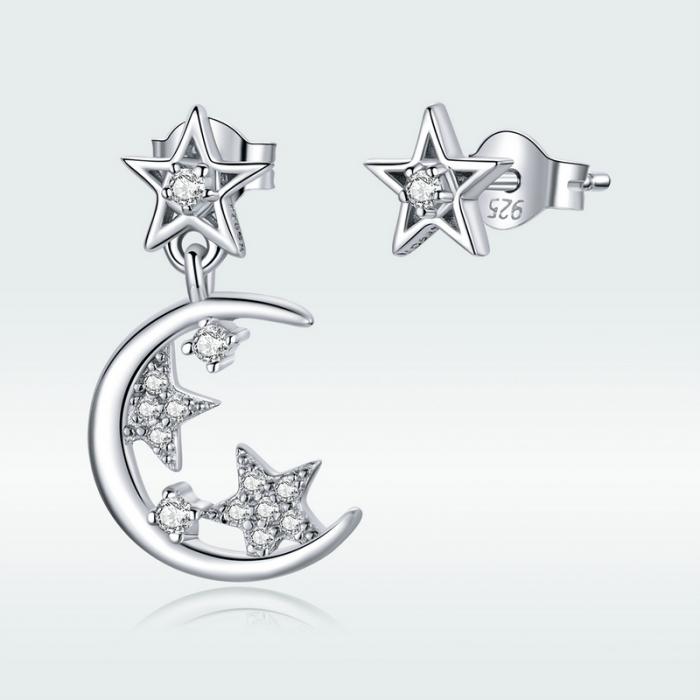 Cercei argint asimetrici cu Luna si Stele 1