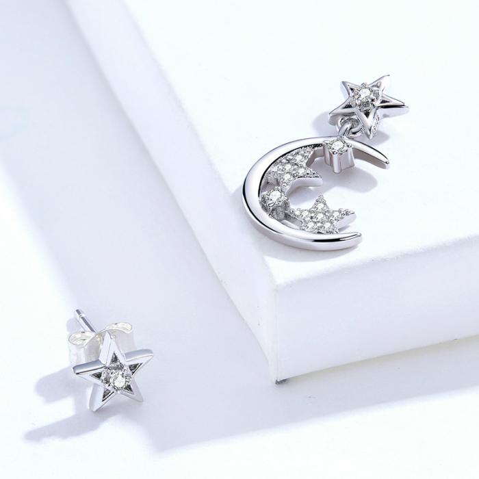 Cercei argint asimetrici cu Luna si Stele 3