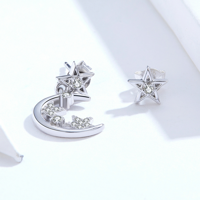 Cercei argint asimetrici cu Luna si Stele 2