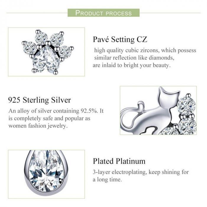 Cercei argint asimetrici cu pisicuta si labuta de pisicuta 4