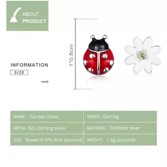 Cercei argint asimetrici floare si gargarita 4