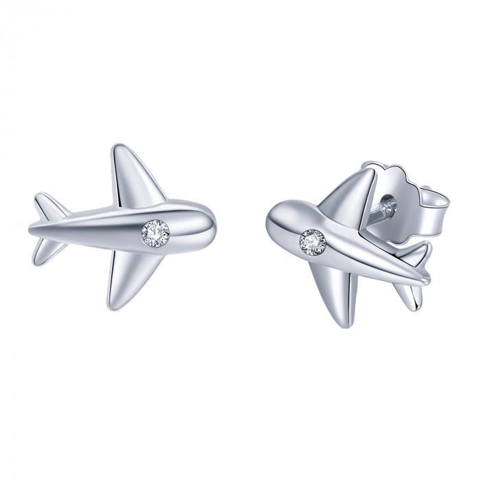 Cercei argint avion cu cristale 0