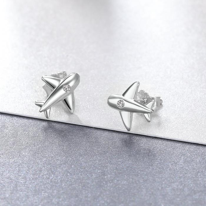 Cercei argint avion cu cristale 2