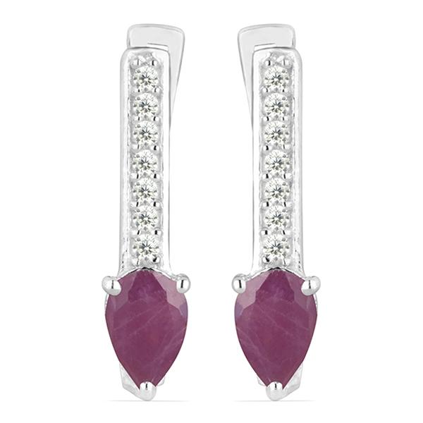 Cercei argint Beatrix, 925, cu rubin si zirconiu alb - EVA0033 0