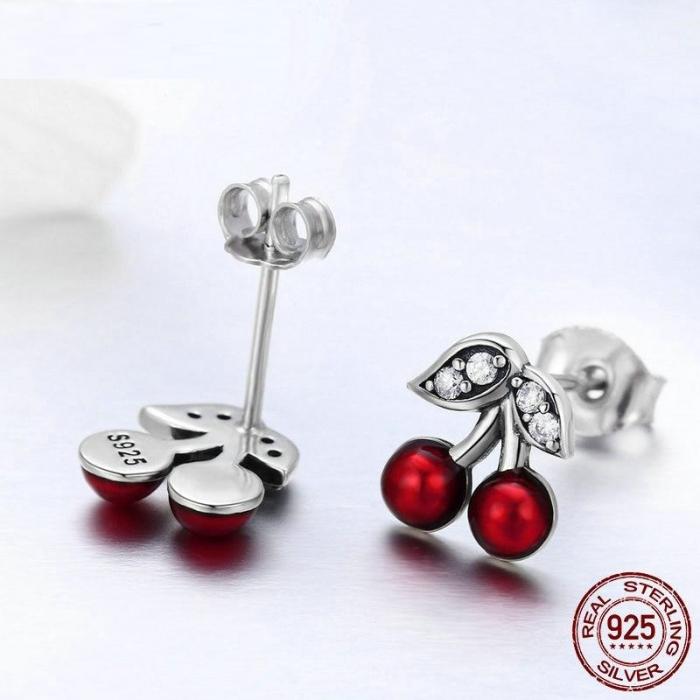 Cercei argint cirese rosii [4]