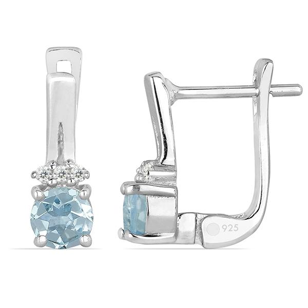 Cercei argint Clara, 925, cu topaz Sky Blue si zirconiu alb - EVA0046 1