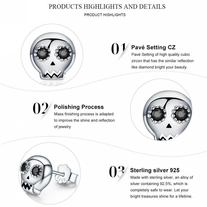 Cercei argint cranii cu zirconii negre [6]