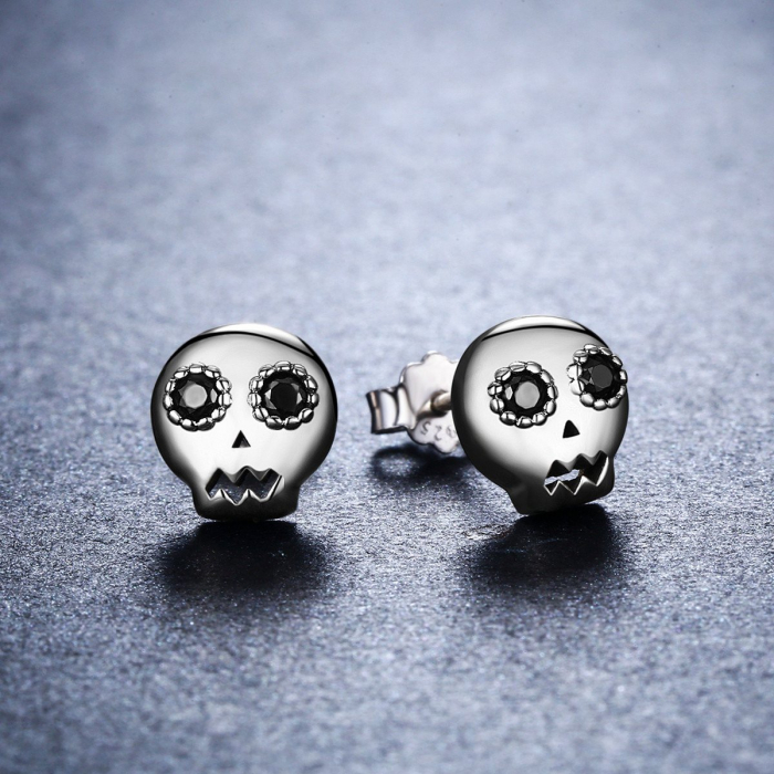 Cercei argint cranii cu zirconii negre [3]