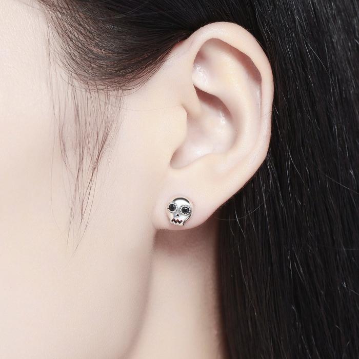 Cercei argint cranii cu zirconii negre [4]