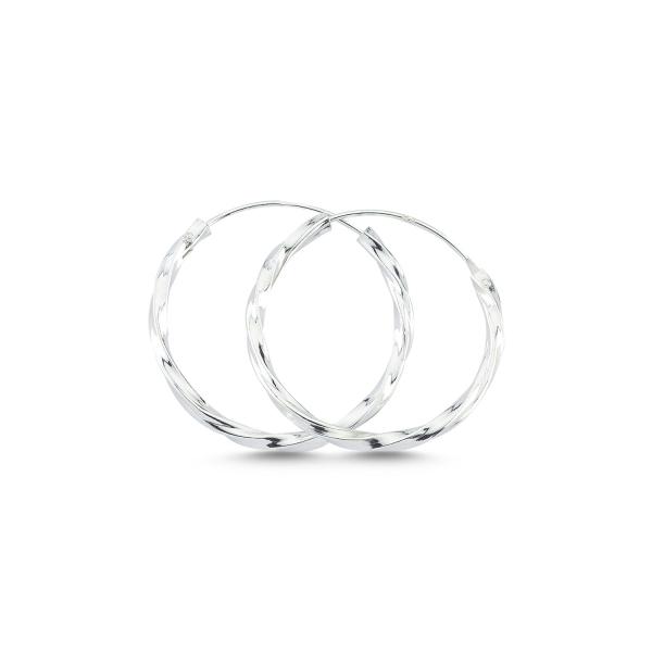 Cercei argint creole rasucite diametru 25 mm - ETU0157 0