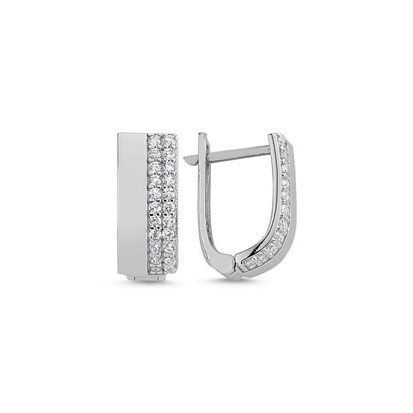 Cercei argint cu 2 randuri de zirconii albe placat cu rodiu - ETU0112 0