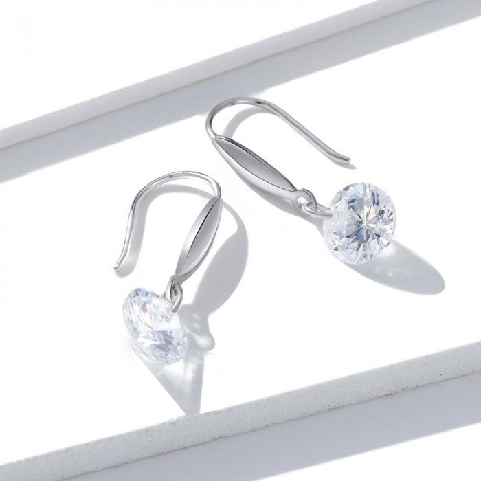 Cercei argint cu cristal stralucitor 4