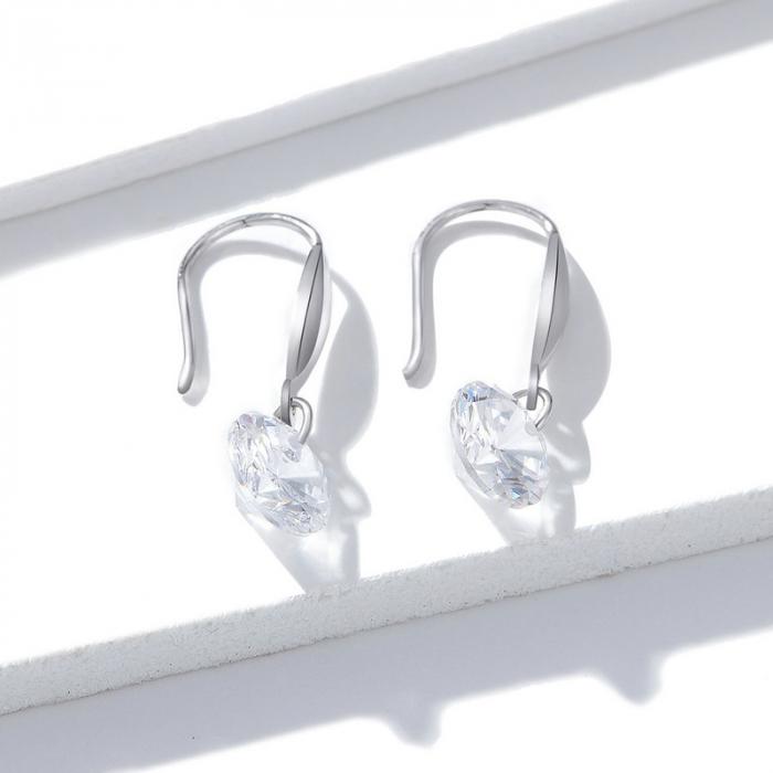 Cercei argint cu cristal stralucitor 1