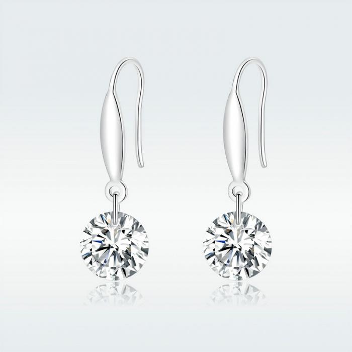 Cercei argint cu cristal stralucitor 8