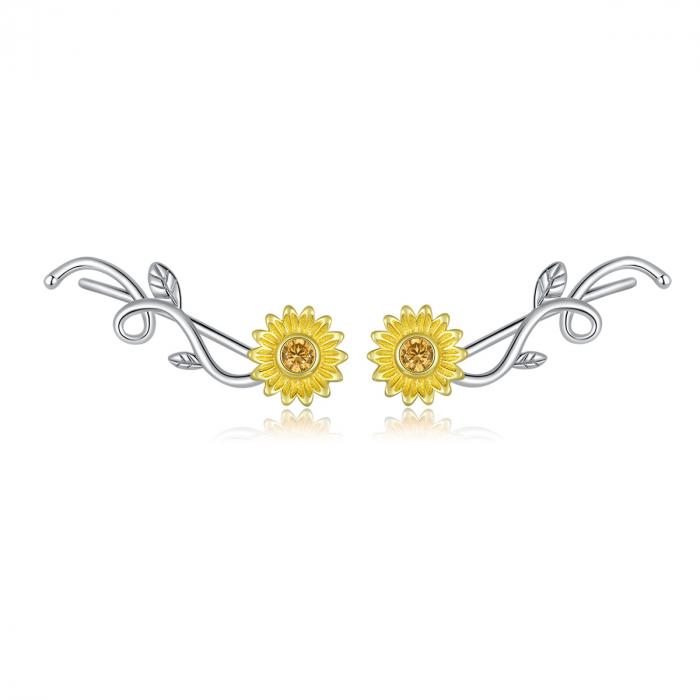 Cercei argint cu floarea soarelui si zirconiu [0]