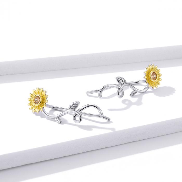 Cercei argint cu floarea soarelui si zirconiu [3]
