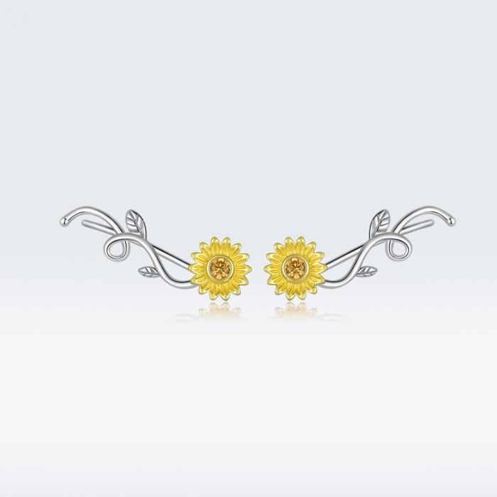 Cercei argint cu floarea soarelui si zirconiu [8]