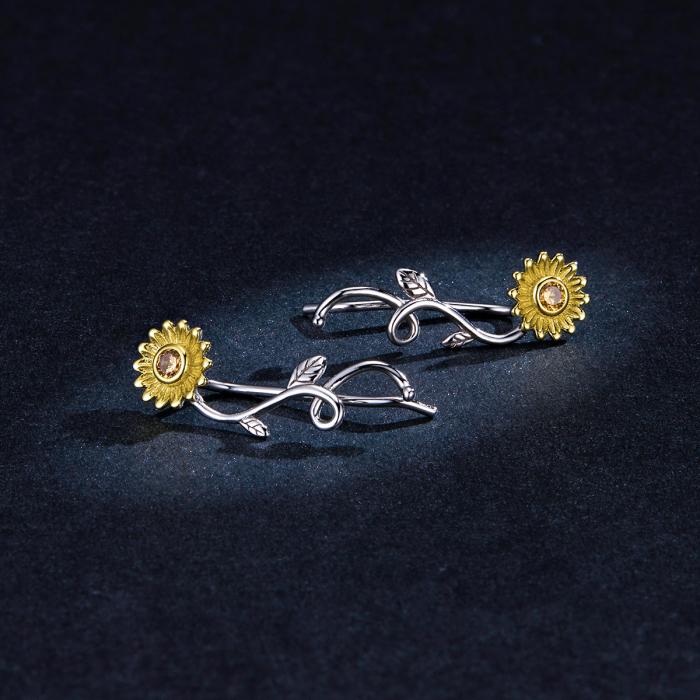 Cercei argint cu floarea soarelui si zirconiu [4]