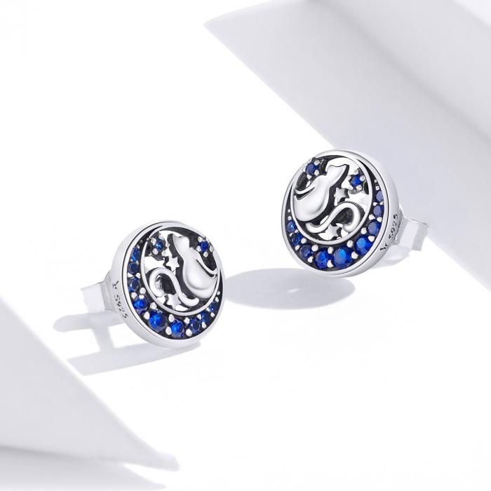 Cercei argint cu luna, pisicute si zirconii albastre 4