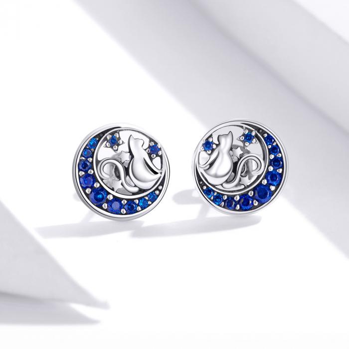 Cercei argint cu luna, pisicute si zirconii albastre 1