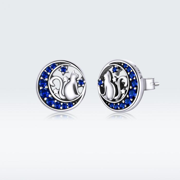 Cercei argint cu luna, pisicute si zirconii albastre 7
