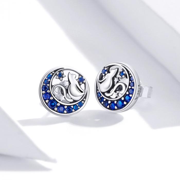 Cercei argint cu luna, pisicute si zirconii albastre 3