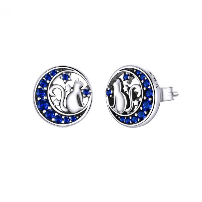 Cercei argint cu luna, pisicute si zirconii albastre 0