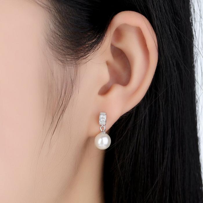Cercei argint cu perle naturale si zirconii albe 1