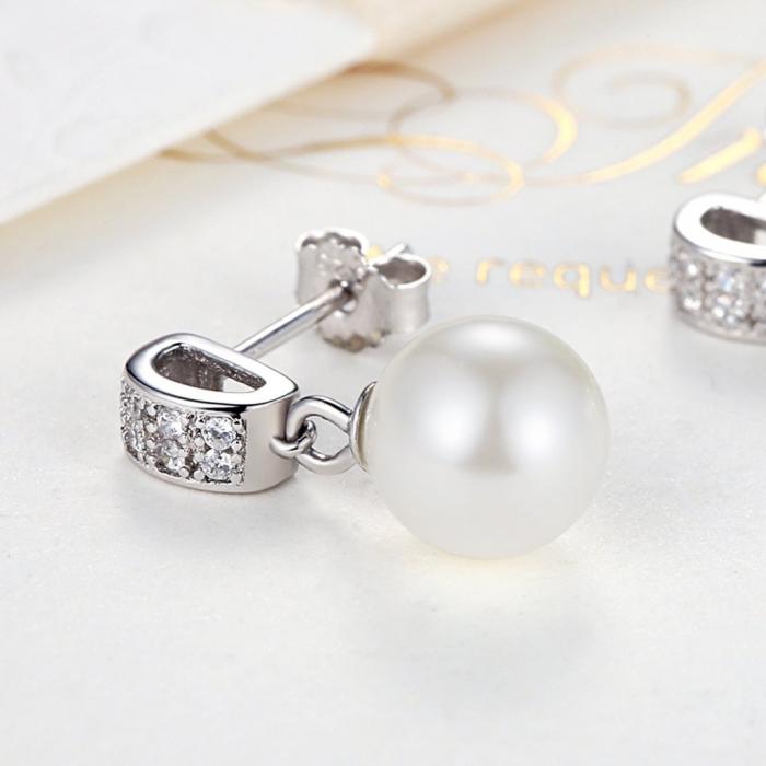 Cercei argint cu perle naturale si zirconii albe 4
