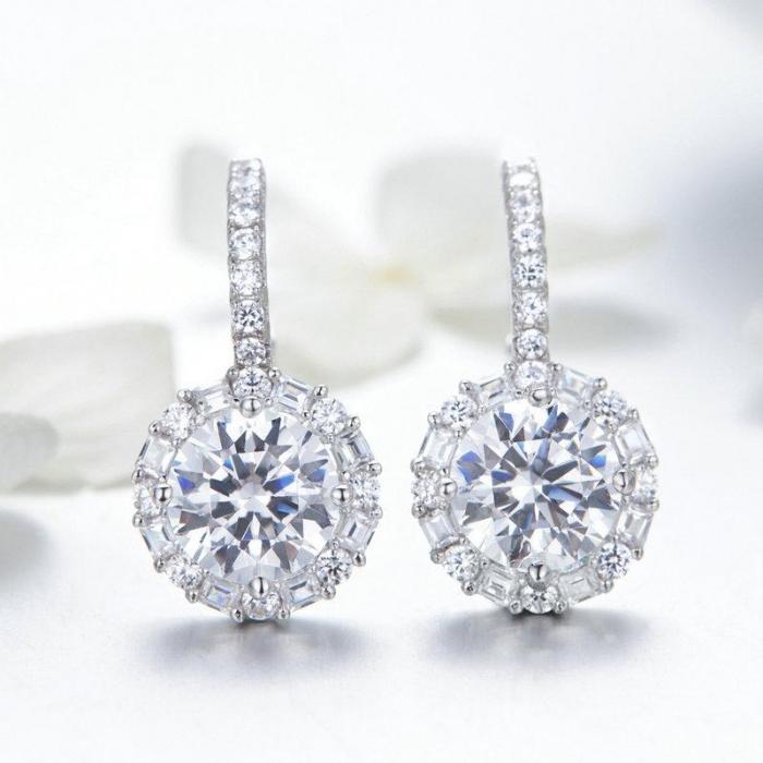 Cercei argint cu zirconii albe 1