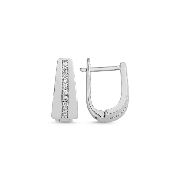 Cercei argint cu zirconii albe placat cu rodiu - ETU0113 0
