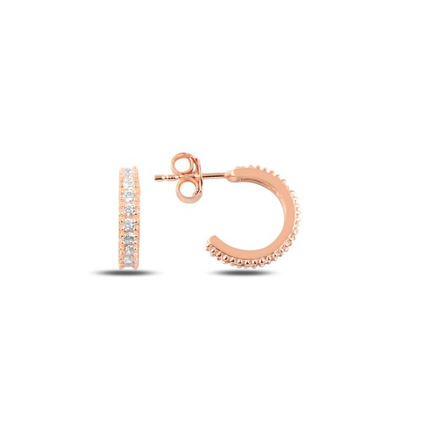 Cercei argint Eternity placati cu aur roz 8,5 mm, cu zirconii albe - ETU0155 0