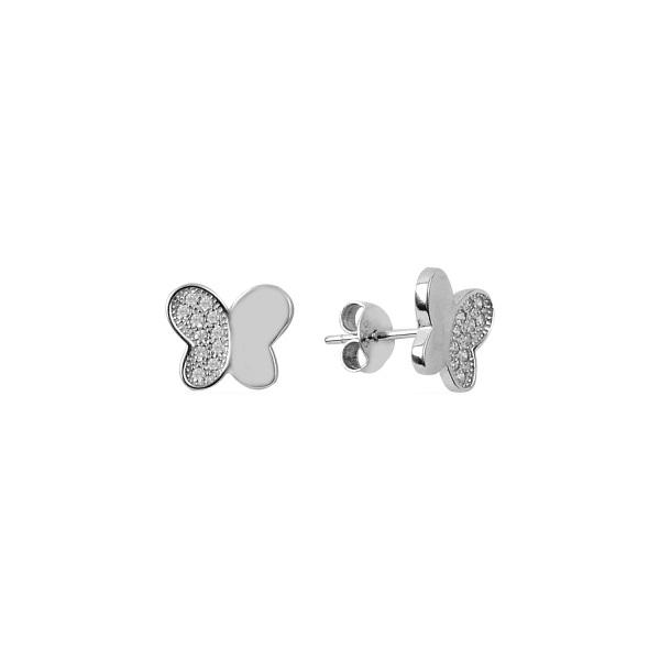 Cercei argint fluturas cu cristale [0]