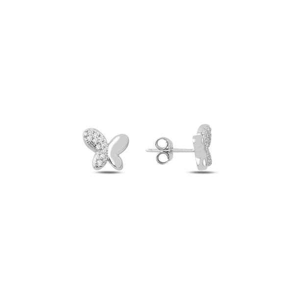 Cercei argint fluturasi cu zirconii albe - ETU0186 0